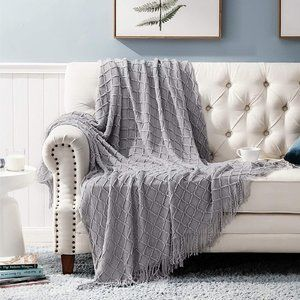 Woven Knit Cozy Blanket Gray